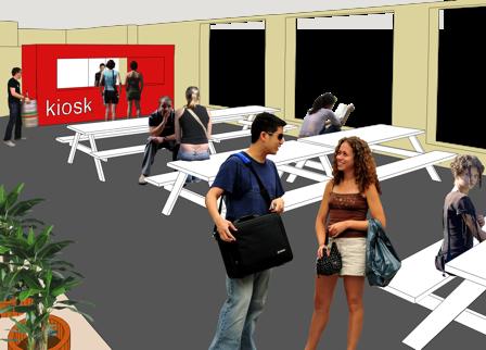 interieurontwerp school picknickbanken aula