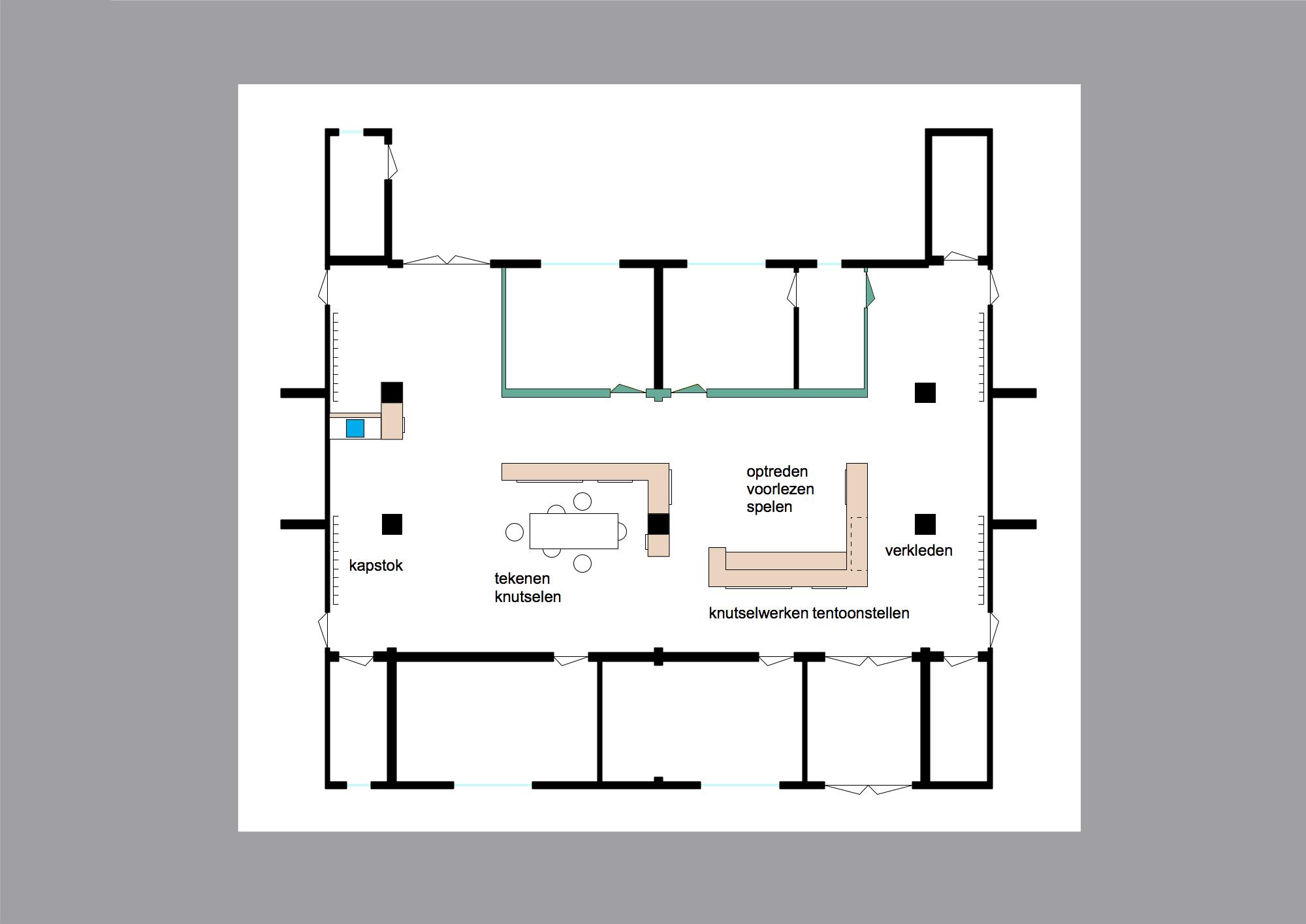 plattegrond van interieurontwerp voor kinderdagverblijf